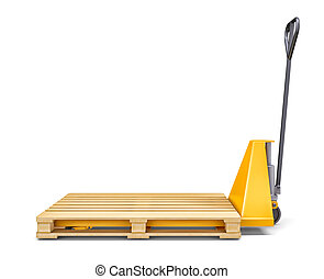 Pallet jack isolated on white - Pallet jack and wooden...