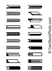Metal, plastic and wooden trims - vector illustration