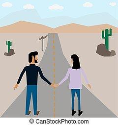 2 traveler walk along the high way - 2 traveler walk along...