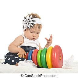 baby, m�dchen, glücklich, spielende, Spielzeuge