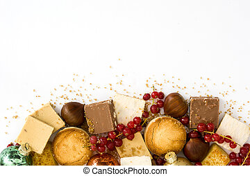Christmas nougat isolated on white background.Copyspace