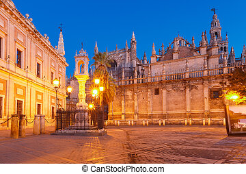 Plaza del Triunfo and Seville Cathedral, Spain - Plaza del...