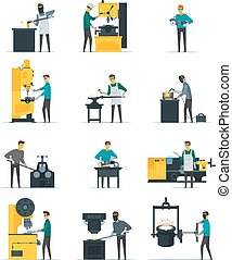 Blacksmith Metalworking Process Flat Icons Collection -...
