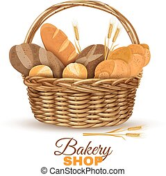 Bakery Basket With Bread Realistic Image - Bakery shop...