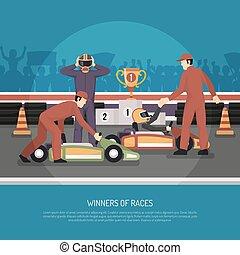 Karting Motor Race Illustration - Karting motor race winner...