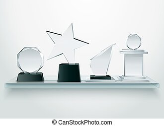 Glass Trophies On Shelf Realistic Image - Challenge and...