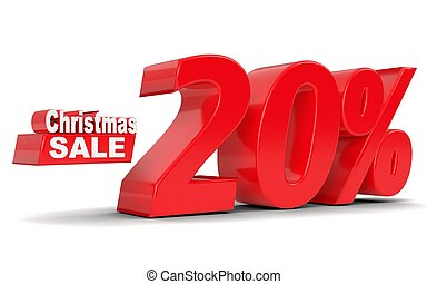 Christmas sale. Discount 20 percent off. 3D rendering