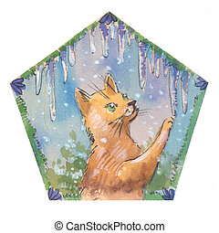 Cute cristmas cat with icicles