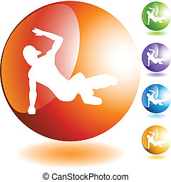 Breakdancer Icon - Breakdancer icon web button isolated on a...
