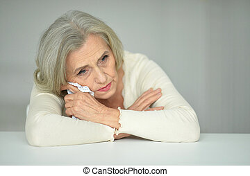 thoughtful senior woman - Portrait of thoughtful senior...