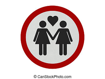 Photo realistic female partners sign, isolated on white -...