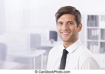Smiling handsome businessman in office - Smiling handsome...