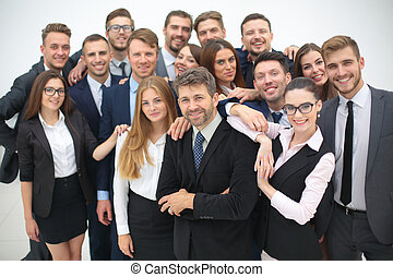 Portrait of smiling business people against white background...