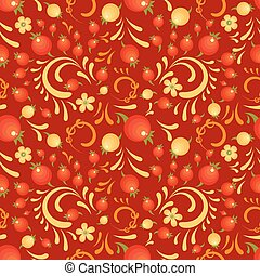 Cranberry floral red pattern in Khokhloma style - Cranberry...