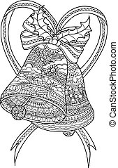 Bell zentangle by hand drawing.