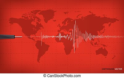 Seismic activity graph showing an earthquake on world map...