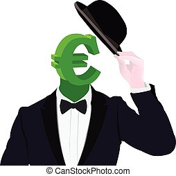 currency symbol disguised with hat ladies - symbol euro...