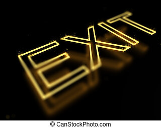 3d render exit neon sign isolated on black background