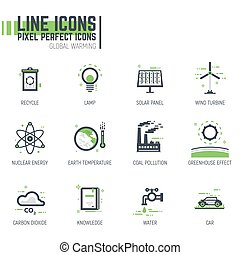Global warming line icons - Set of pixel thick line style...