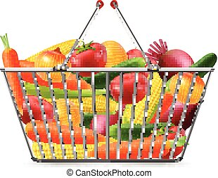 Shopping Basket Full Vegreables Realistic Image - Shopping...