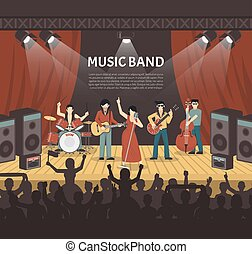 Pop Music Band Vector Illustration - Pop music band flat...