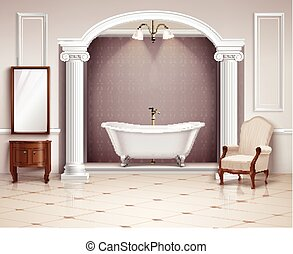 Bathroom Interior Realistic Design - Beautiful luxurious...