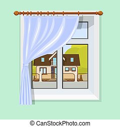 Vector illustration of interior with a window curtain and scenery with a small rural house and