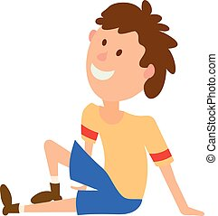 Vector illustration of a boy in a yellow T-shirt and shorts sitting on the floor. Colored figure