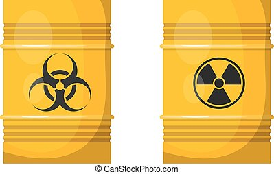 Vector illustration of two yellow metal barrels with black...
