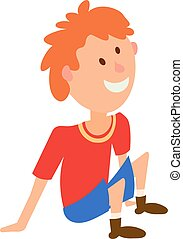 Vector illustration of a boy in a red T-shirt and shorts sitting on the floor. Colored figure child in a position of rest