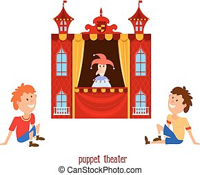 Puppet show. Illustration of children's puppet theater with a doll clown and child sitting on a