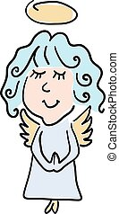 Vector color illustration of a Cartoon style little angel on...