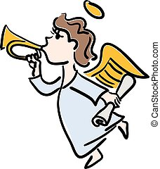 Vector color illustration of a young angel with a gold trumpet on a white background