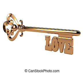 Abstract 3D golden key with the word LOVE on white...