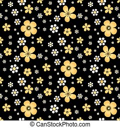 Floral seamless pattern in Khokhloma style - Flowers on...