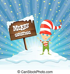 vector cartoon merry Christmas elf on north pole