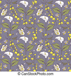 pattern with calla flowers - Illustration of seamless...