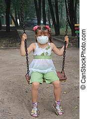 The girl in a respirator