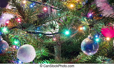 Christmas tree with New Year's balls