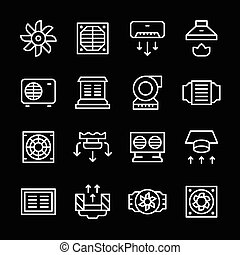Set line icons of ventilation isolated on black. Vector...