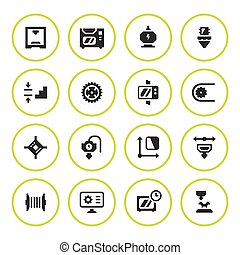 Set round icons of 3D printing isolated on white. Vector...