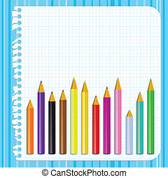 Back to school background with torn paper and pencils,...