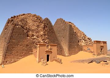 Sudan,  meroe,  sahara, Pyramider
