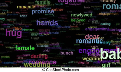 Wedding love concept words moving DOWN, seamless loop