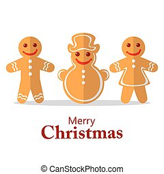 merry christmas - Cartoon gingerbread cookies isolated on...