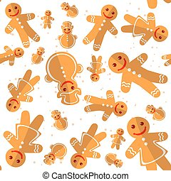 merry christmas-28 - Cartoon gingerbread cookies isolated on...