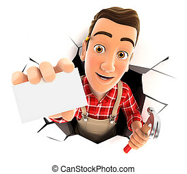 3d handyman coming out through a wall with company card