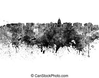 Madison skyline in black watercolor on white background