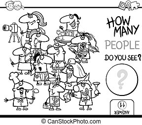 counting people coloring page - Black and White Cartoon...