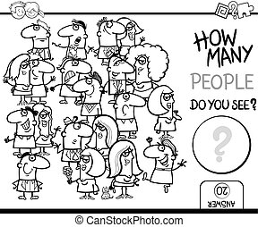 counting people game coloring page - Black and White Cartoon...